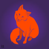 Red sitting fox silhouette