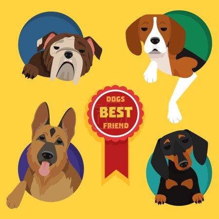 Set of different dog breeds.