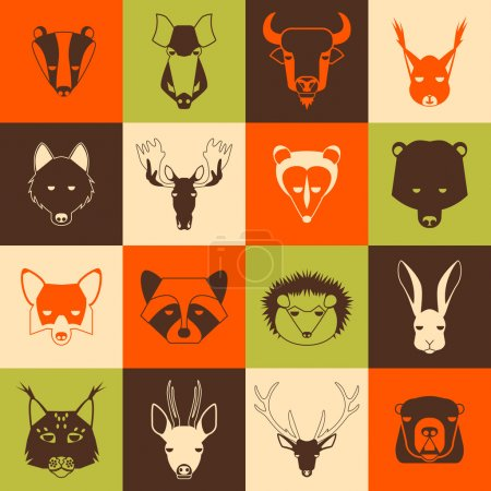 Illustration for Forest animals icons set with cool design. Vector illustration - Royalty Free Image