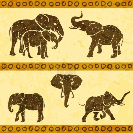 Illustration pour Ensemble de 5 éléphants africains. Illustration vectorielle - image libre de droit
