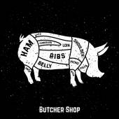 Cuts of pork with grunge style  Vector Illustration