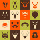 Forest animals icons set with cool design Vector illustration