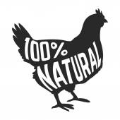 Silhouette of farm Hen black with text inside on white background isolated