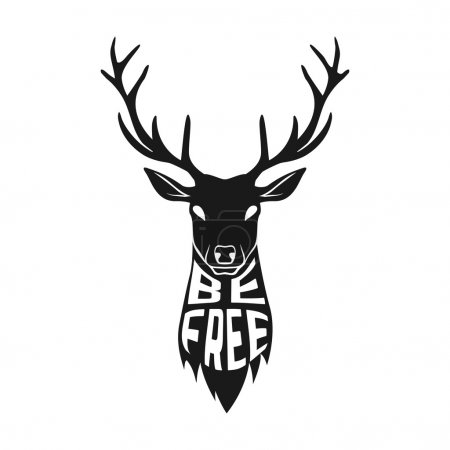 Concept silhouette of deer head with text inside on white background.
