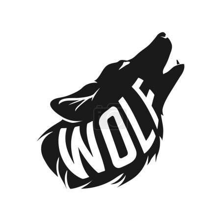 Wolf silhouette with concept text inside on white background