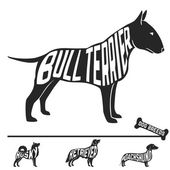 Set of dog breeds silhouettes with text inside Bull terrier