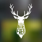 Concept silhouette of deer head with text inside be free on blur background Vector illustration