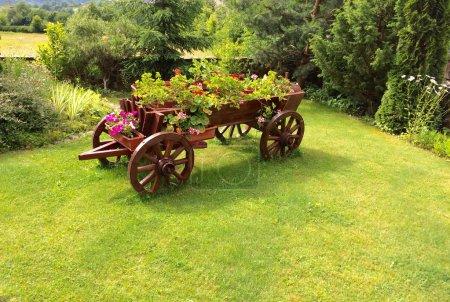 Flower bed on old wooden cart