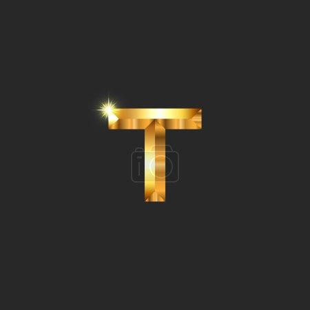 Modern luxury golden letter T