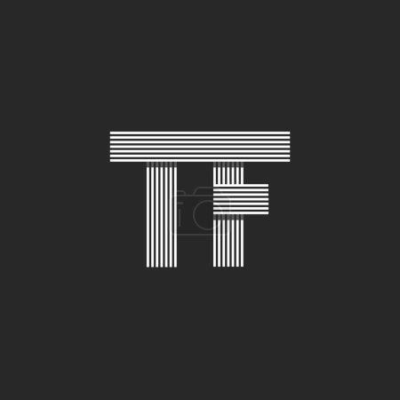 Illustration pour Initiales d'invitation de mariage Lettres TF logo monogramme, chevauchement parallèle mince carte de visite emblème T F - image libre de droit