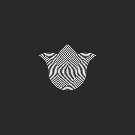 Illustration for Tulip flower logo monogram, sacred geometry esoteric harmony  graphic emblem, balance energy buddhism sign - Royalty Free Image
