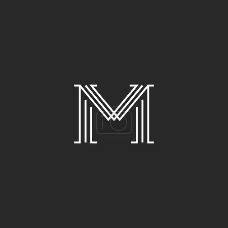 Illustration pour Monogramme lettre M logo maquette, ligne mince décoration hipster initiale, contour noir et blanc graphique invitation de mariage emblème - image libre de droit