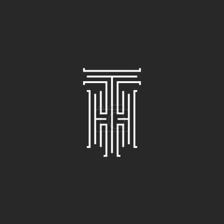 Illustration pour Hipster Initiales TH logo invitation de mariage, quelques lettres T H mince ligne de style noir et blanc, HT combinaison lettres emblème de carte de visite - image libre de droit