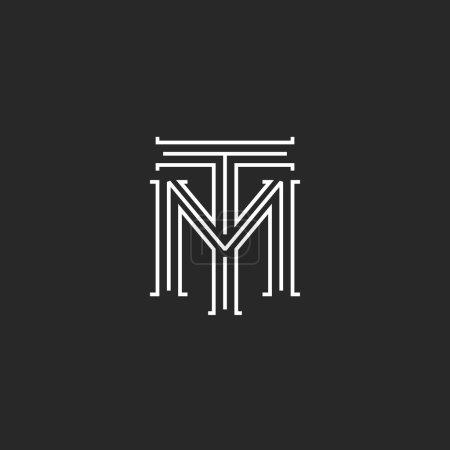 Monogram hipster initials TM logo