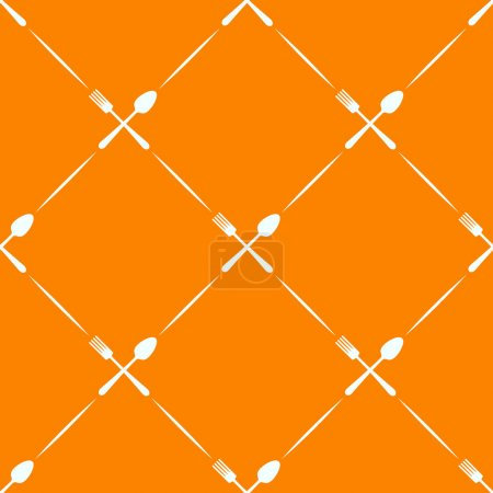 Seamless orange pattern spoon, fork - wrapping paper for menu