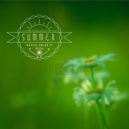 Illustration pour Emblème des vacances d'été, fond de fleurs bleues - image libre de droit