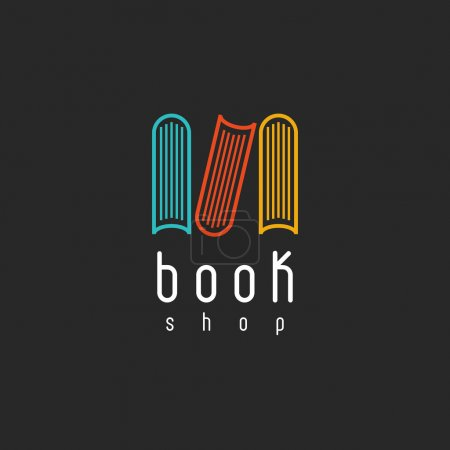 Illustration for Book shop logo on black background, mockup of sign literature store, design library icon - Royalty Free Image