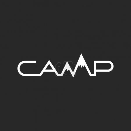 Travel logo, camp word lettering