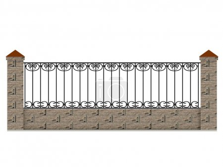 Brick fence section with metal swirly decoration