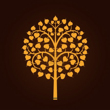 Illustration for Golden Bodhi tree symbol with Thai style isolate on black background, vector illustration - Royalty Free Image