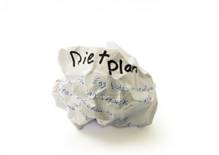 Crumpled paper ball with the words diet plan