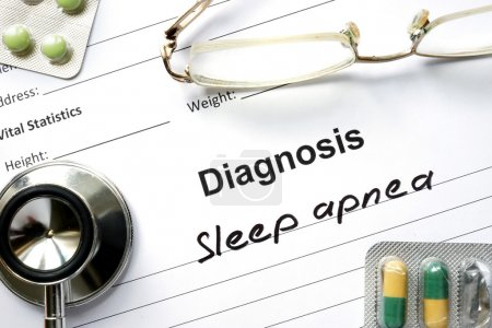 Photo for Diagnosis  Sleep apnea, pills and stethoscope. - Royalty Free Image