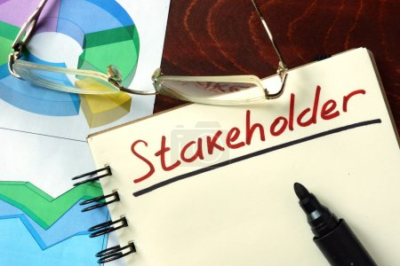 Photo for Stakeholder  concept. Notepad on the table. - Royalty Free Image