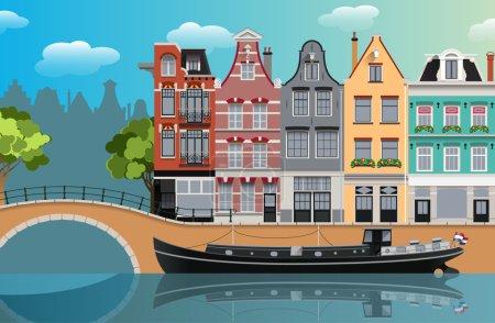 Illustration pour Amsterdam canal paysage plat illustration - image libre de droit