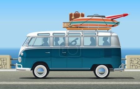 Friends on summer trip in classic Van
