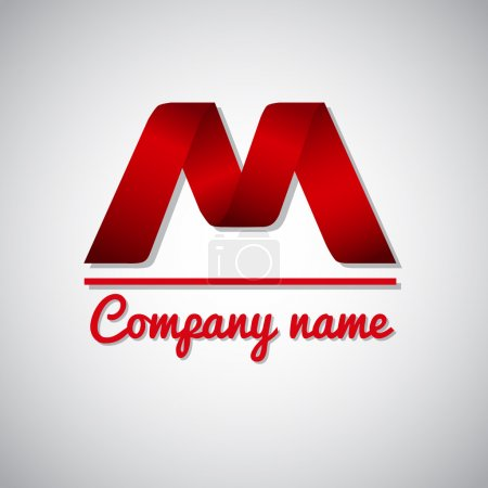 Icon of paper business logo letter m