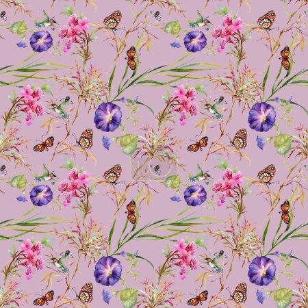 blooming  Bind Weed buds  and butterflies