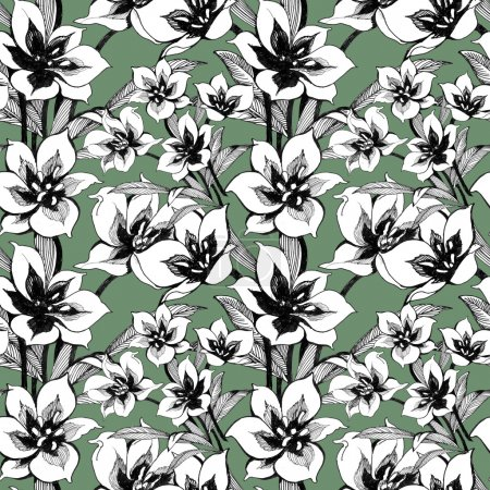Floral ink seamless pattern