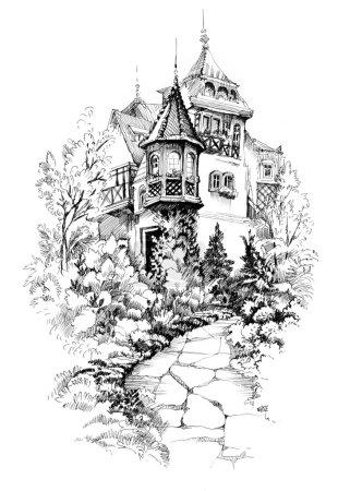 Photo pour Paysage urbain aquarelle avec des maisons illustration . - image libre de droit