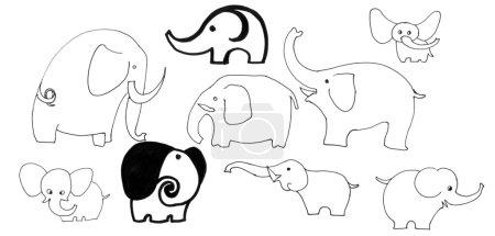Doodle elephants set