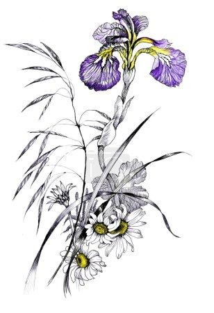 Photo pour Jardin d'été fleurs illustration - image libre de droit