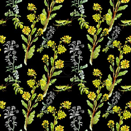 Pattern with yellow flowers and grasshoppers