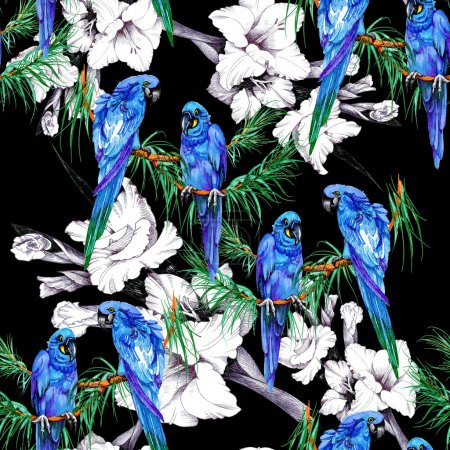 parrots and  flowers pattern