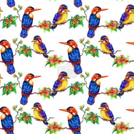 Beautiful birds and flowers pattern