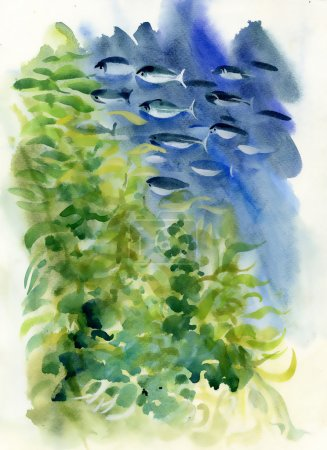 Watercolor fishes and algae