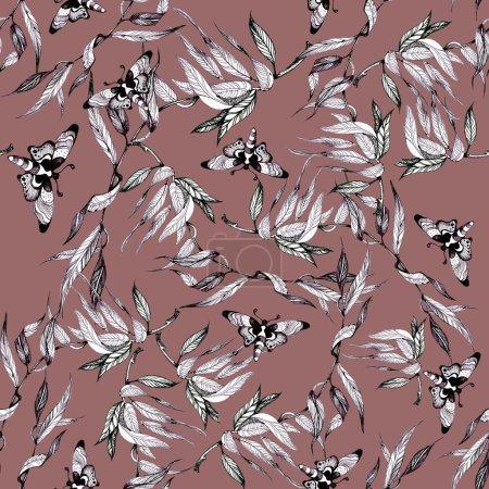 Photo pour Modèle d'image de papillons avec des tracts - image libre de droit