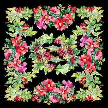 Photo pour Aquarelle peinture de branche d'aubépine avec fond de fleurs de pétunia sur fond noir - image libre de droit