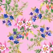 Watercolor flowers texture illustration