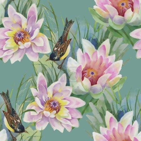 Photo pour Oiseau assis sur des fleurs de lys roses motif sans couture sur fond vert - image libre de droit