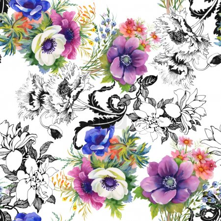 Colorful garden flowers background