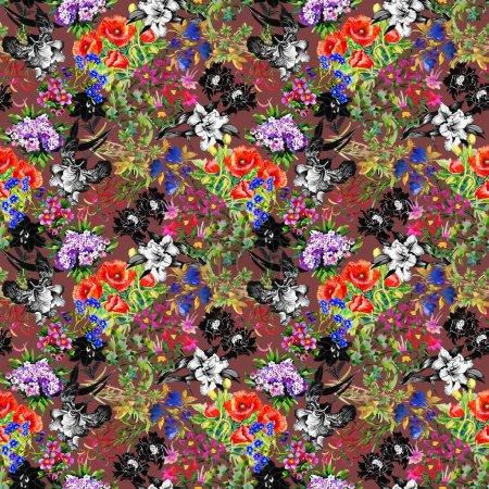 Poppy and iris flowers pattern