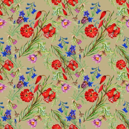 Photo for Seamless floral pattern background with meadow flowers - Royalty Free Image