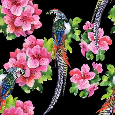 Tropical birds with flowers