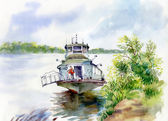 Boat on river water