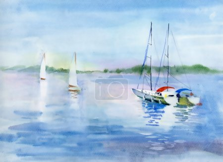Summer landscape with Sailboats