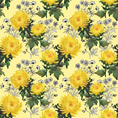 Photo pour Dessin sans couture fleurs de chrysanthème jaune floral aquarelle - image libre de droit